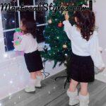 New 2020 Toddler White Pompom Shirt And Black Skirt Cutie Set photo review